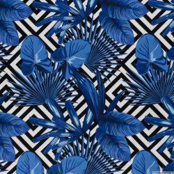 Satin de coton élasthane imprimé labyrinthe cobalt