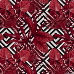 Satin de coton élasthane imprimé labyrinthe rouge