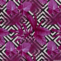 Satin de coton élasthane imprimé labyrinthe fuchsia