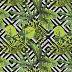 Satin de coton élasthane imprimé labyrinthe citron vert