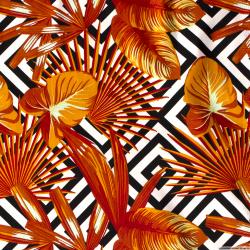 Satin de coton élasthane imprimé labyrinthe orange