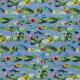 Satin de coton élasthane imprimé cactus fond bleu