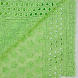 Broderie anglaise fleur d'anis vert pistache
