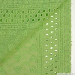 Broderie anglaise cerf volant vert pistache