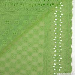 Broderie anglaise damier vert pistache