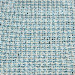 Tweed polycoton bleu ciel et blanc