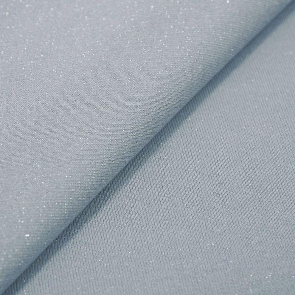 Molleton coton lurex fond bleu