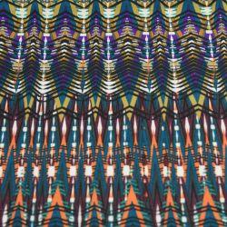 Jersey polyester imprimé ethnique bleu canard