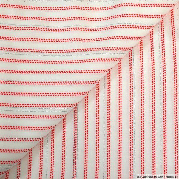Viscose imprimée rayure en point rouge fond blanc avec des fils irisés argent