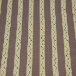 Coton imprimé rayures champêtre beige et taupe