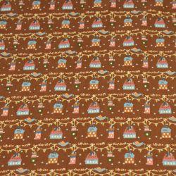 Coton imprimé Sweet garden fond brun