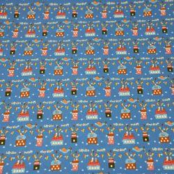 Coton imprimé Sweet garden fond bleu