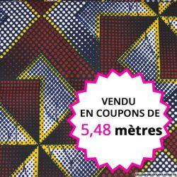 Wax africain labyrinthe bleu, rouge, jaune et blanc, vendu en coupon de 5,48 mètres