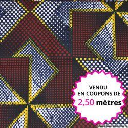 Wax africain labyrinthe bleu, rouge, jaune et blanc, vendu en coupon de 2,50 mètres