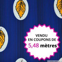 Wax africain pluie de feuille jaune fond bleu, vendu en coupon de 5,48 mètres