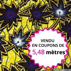 Wax africain façon palmier jaune éléctrique, vendu en coupon de 5,48 mètres