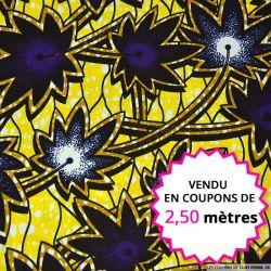 Wax africain façon palmier jaune éléctrique, vendu en coupon de 2,50 mètres