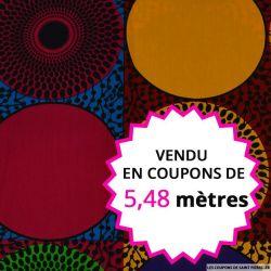 Wax africain pupille et cellule multicolore, vendu en coupon de 5,48 mètres