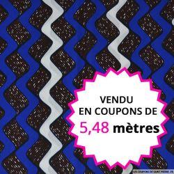 Wax africain faire des vagues bleu, blanc, marron et blanc vendu en coupon de 5,48 mètres