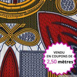 Wax africain en bandana jaune, rouge, bleu et blanc, vendu en coupon de 2.50 mètres