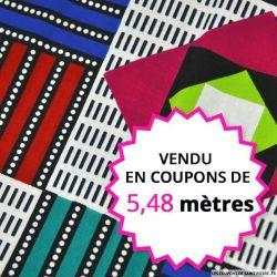 Wax africain géométrie en couleur, vendu en coupon de 5,48 mètres