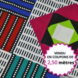 Wax africain géométrie en couleur, vendu en coupon de 2,50 mètres