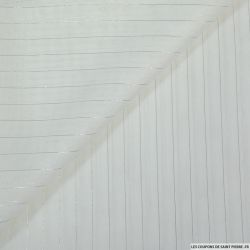 Georgette polyester blanc fils argent