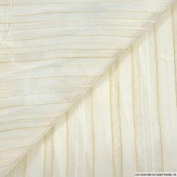 georgette polyester blanc cassé à rayures fils doré