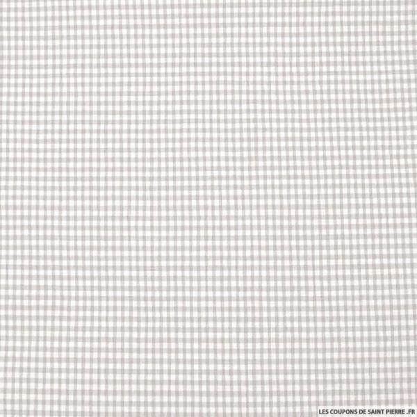 Seersucker vichy gris pâle