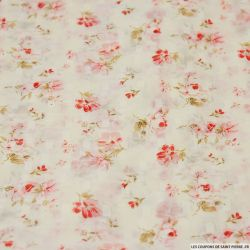 Mousseline polyester dévoré imprimé fleur d'antan rose fond blanc