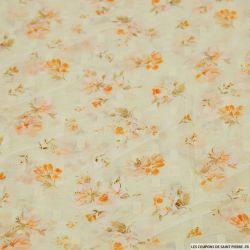Mousseline polyester plumetis imprimé fleur d'antan orange fond écru