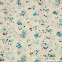 Mousseline polyester plumetis imprimé fleur d'antan turquoise fond blanc