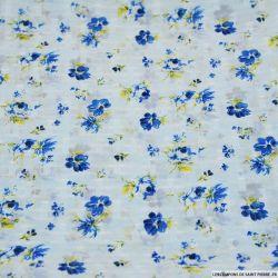Mousseline polyester plumetis imprimé fleur d'antan bleu fond bleu