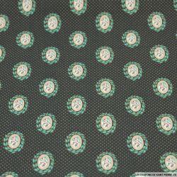 Coton imprimé camé fleuri vert et or fond gris