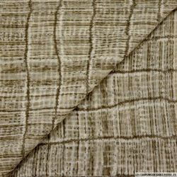 Mousseline imprimé polyester bambou kaki