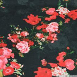 Jersey imprimé fleurs rose et rouge sur fond noir