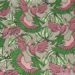 Coton imprimé perroquet rose et vert