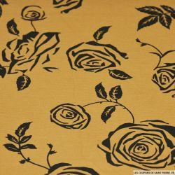 Maille Milano imprimé ombres fleuries sur fond alezan