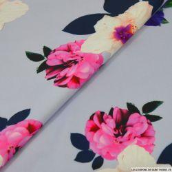 Néoprène fleurs fond parme