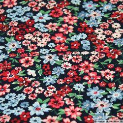 Coton imprimé fleurs des champs rouge fond marine