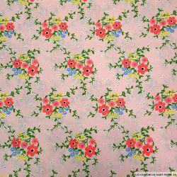 Coton imprimé lié par des branches rose