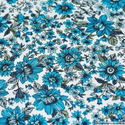 Coton imprimé Germini bleu fond blanc