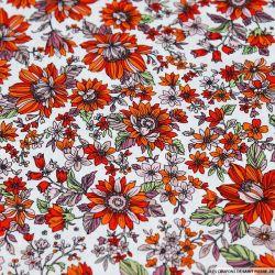 Coton imprimé Germini orange et rouge fond blanc