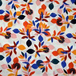 Coton imprimé des feuilles et des oranges blanc
