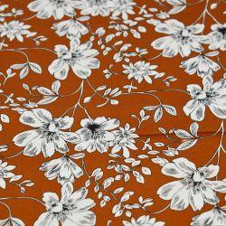 Coton imprimé croquis floraux fond caramel