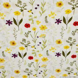 Coton imprimé herbier fleurie fond écru