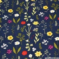 Coton imprimé herbier fleurie fond bleu nuit
