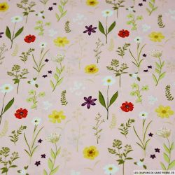 Coton imprimé herbier fleurie fond rose