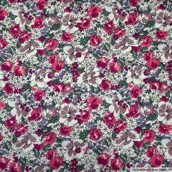 Coton imprimé rêve en floraison fuchsia