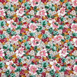Coton imprimé rêve en floraison vert, rouge, jaune